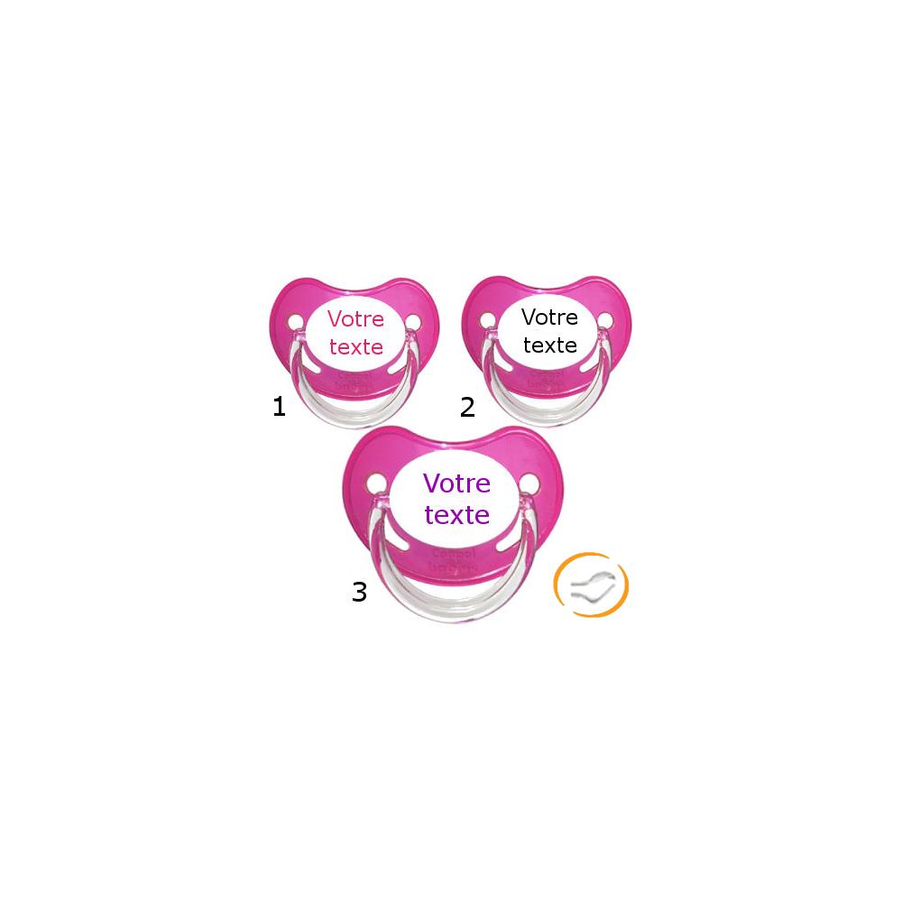 Lot de 3 Tétines personnalisées chupa rose (physiologique)