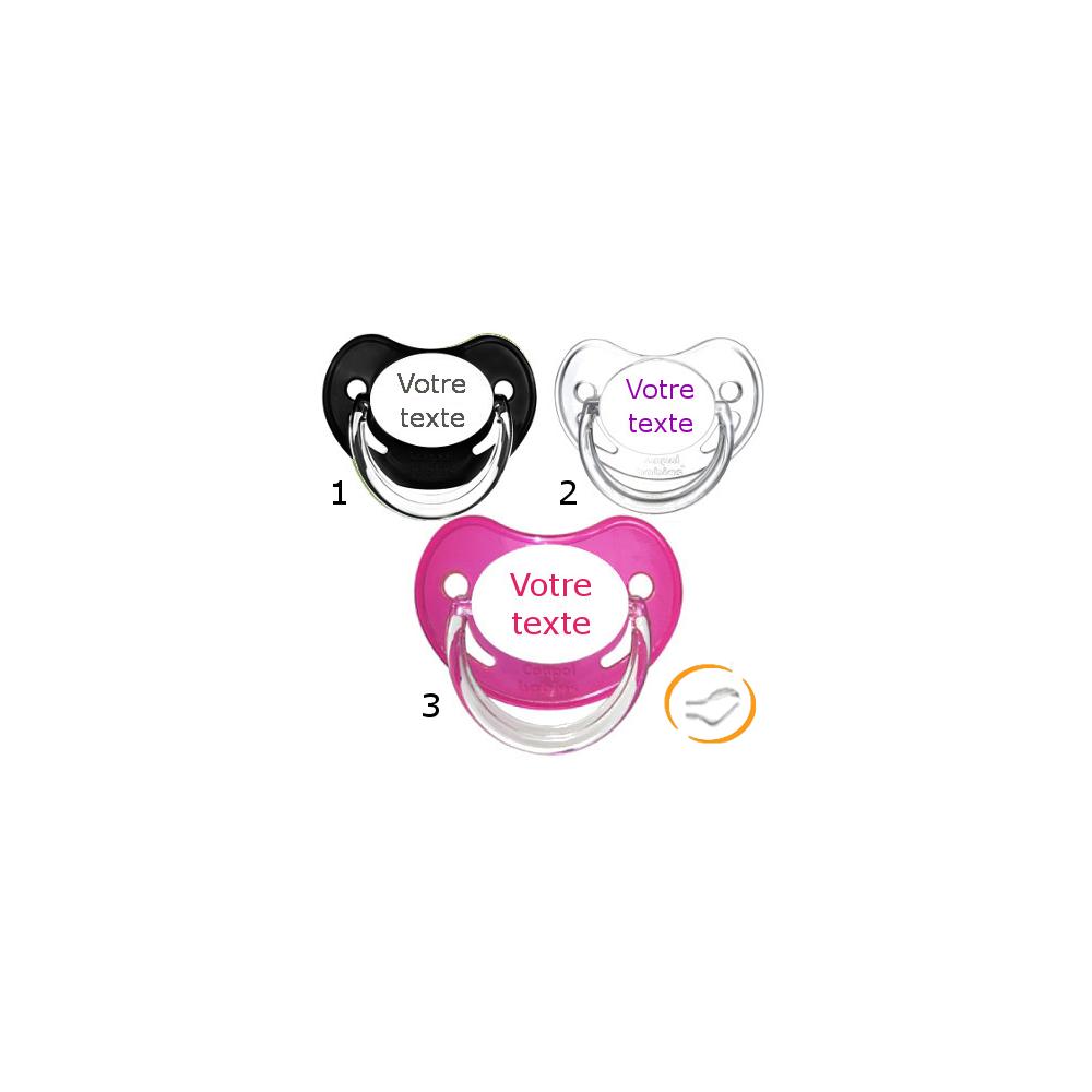 Lot de 3 Tétines personnalisées chupa fille (physiologique) chupa noir / transparente / rose