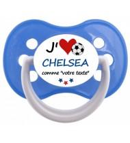 Tétine foot personnalisée J'aime Chelsea