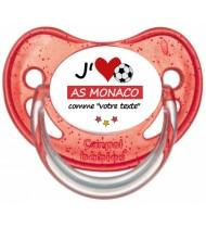 Tétine foot personnalisée J'aime AS Monaco