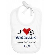 Bavoir bébé foot J'aime Bordeaux
