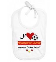 Bavoir bébé foot J'aime Manchester United