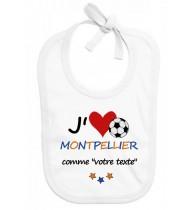 Bavoir bébé foot J'aime Montpellier