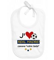 Bavoir bébé foot J'aime Real Madrid
