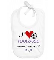 Bavoir bébé foot J'aime Toulouse
