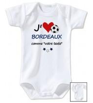 Body bébé personnalisé foot J'aime Bordeaux