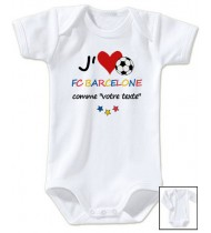 Body bébé personnalisé foot J'aime FC Barcelone