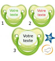 Lot de 3 Tétines personnalisées fluo verte (physiologique)