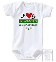 Body bébé personnalisé foot J'aime FC Nantes