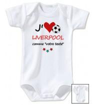 Body bébé personnalisé foot J'aime Liverpool