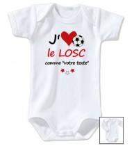 Body bébé personnalisé foot J'aime le LOSC