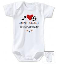 Body bébé personnalisé foot J'aime Montpellier