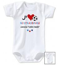 Body bébé personnalisé foot J'aime RC Strsbourg