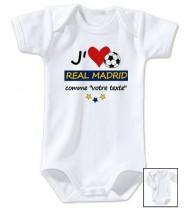 Body bébé personnalisé foot J'aime Real Madrid
