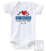 Body bébé personnalisé foot J'aime SC Bastia