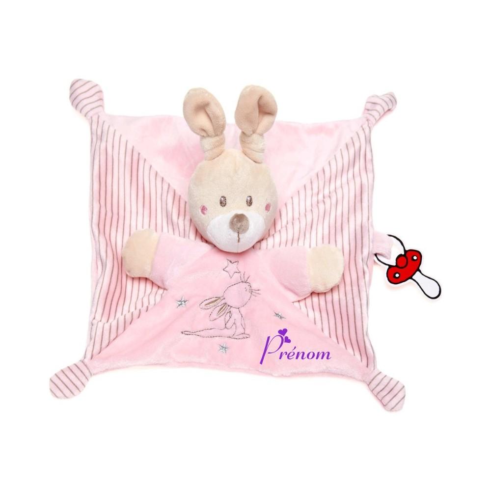 Doudou personnalisé lapin rose