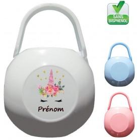 Boîte à tétine personnalisée Licorne coeurs Prénom