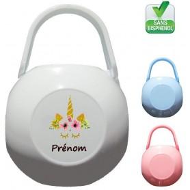 Boîte à tétine personnalisée Unicorne Prénom