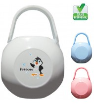 Boîte à tétine personnalisée Pingouin Prénom
