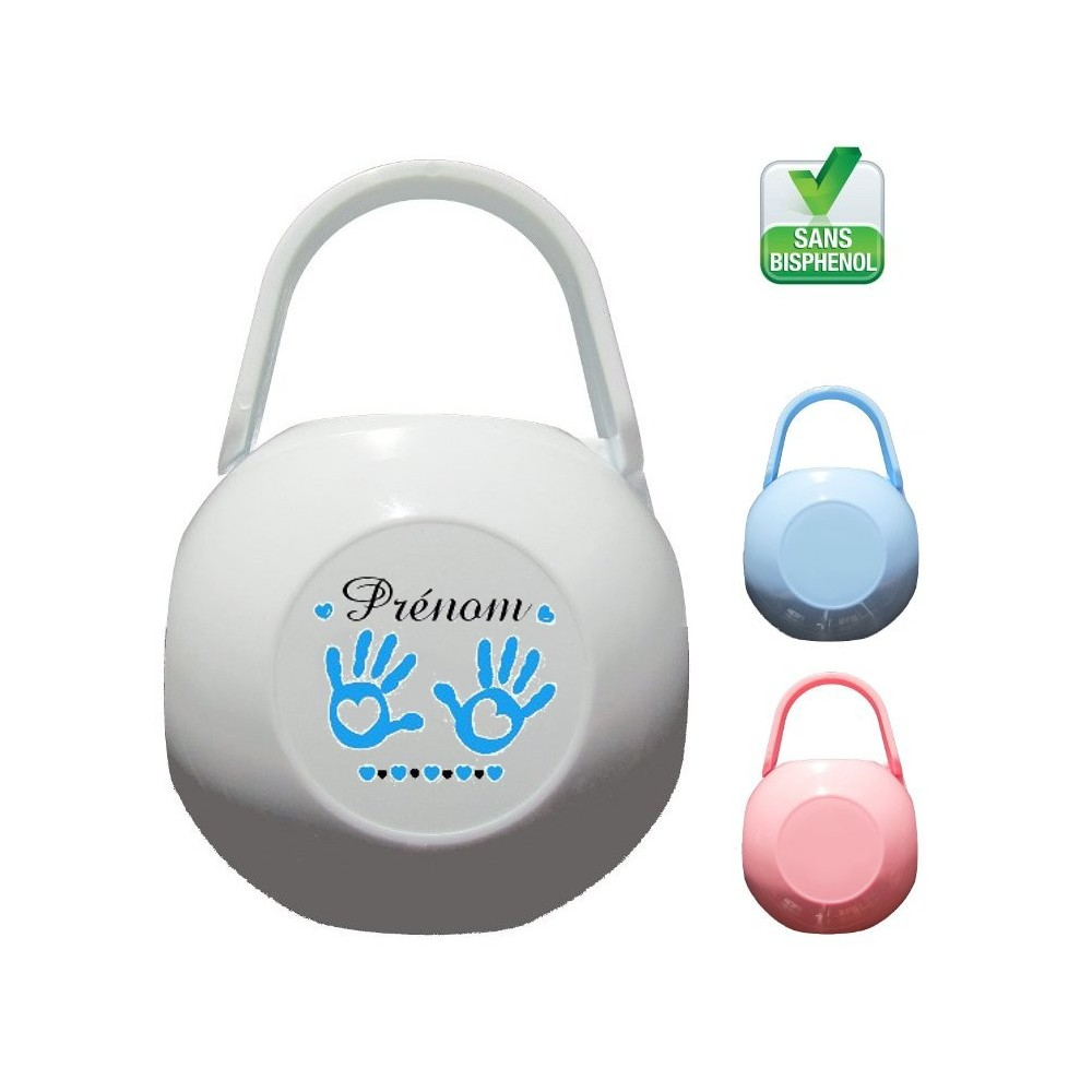 Boîte à tétine personnalisée Mains bébé Prénom