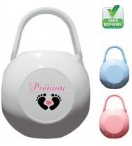 Boîte à tétine personnalisée pied bébé Prénom