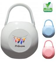 Boîte à tétine personnalisée plumes fil Prénom