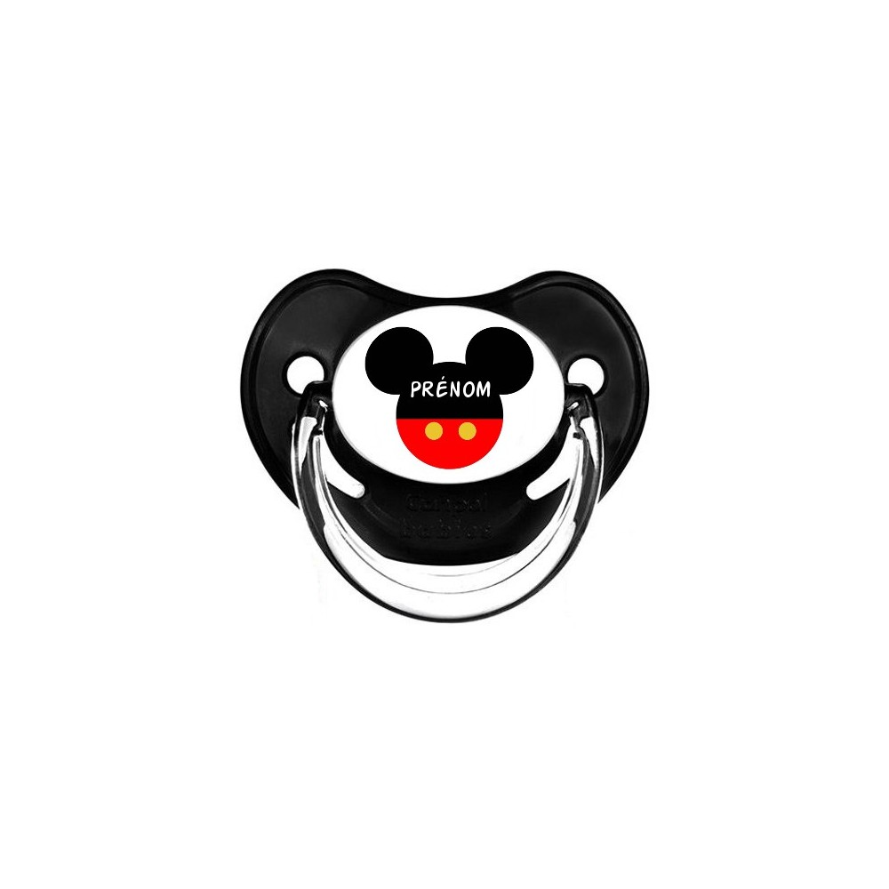 Tétine personnalisée silhouette souris rouge et prénom