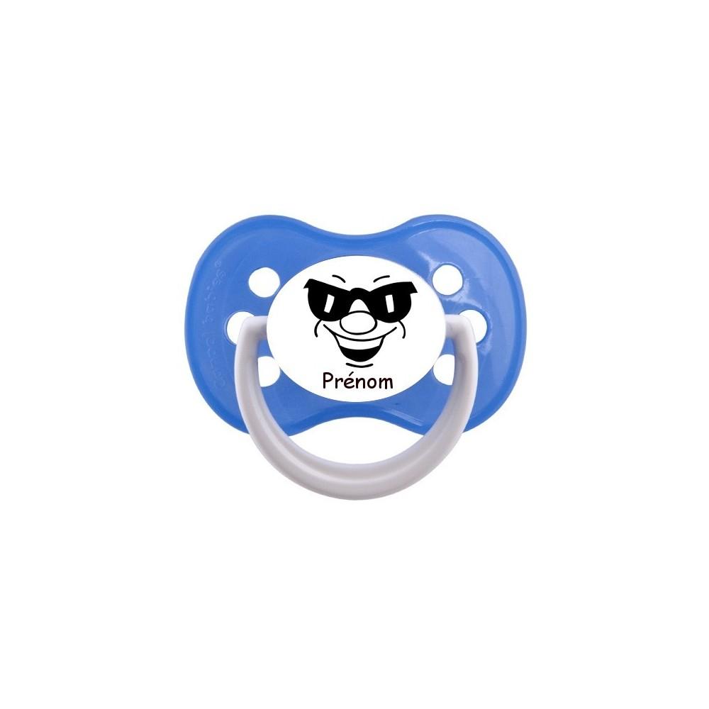 Tétine personnalisée visage lunettes de soleil et prénom