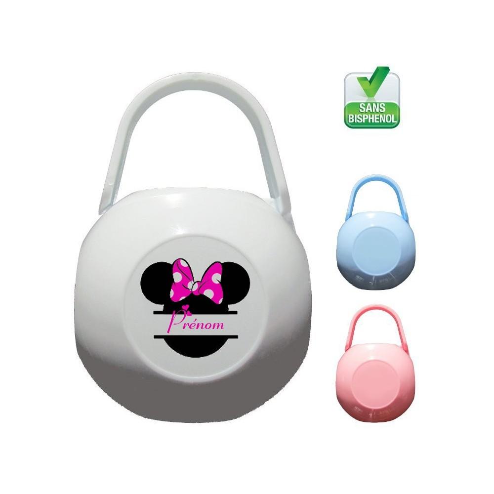 Boîte à tétine personnalisée Silhouette Souris rose Prénom