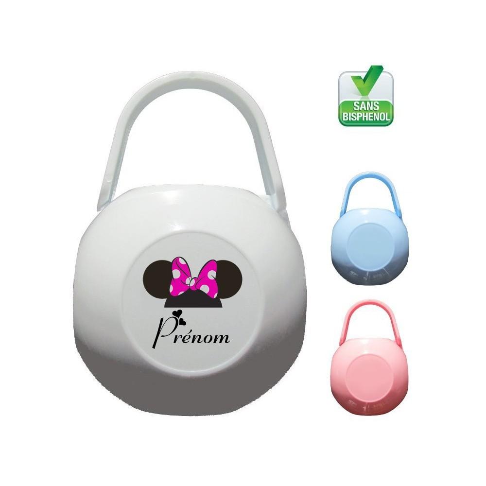 Boîte à tétine personnalisée Souris flot rose Prénom