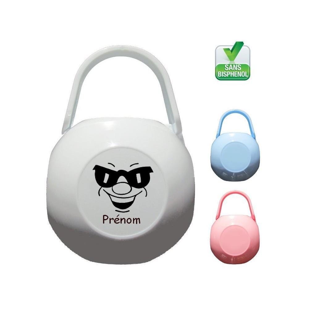 Boîte à tétine personnalisée Visage lunettes Prénom