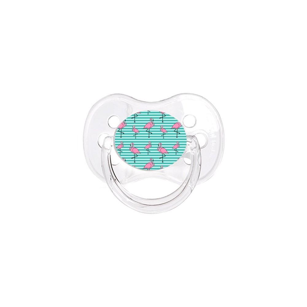 Tétine de bébé flamant rose