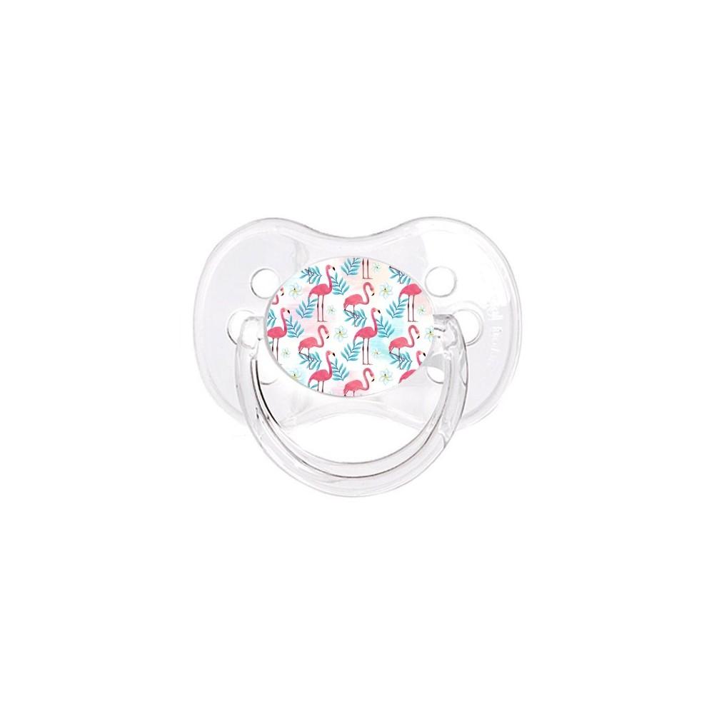 Tétine de bébé flamant rose fleurs