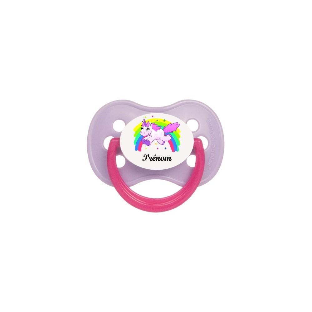 Tétine de bébé personnalisée Licorne arc-en-ciel et prénom