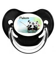 Tétine de bébé personnalisée pandas pêche et prénom