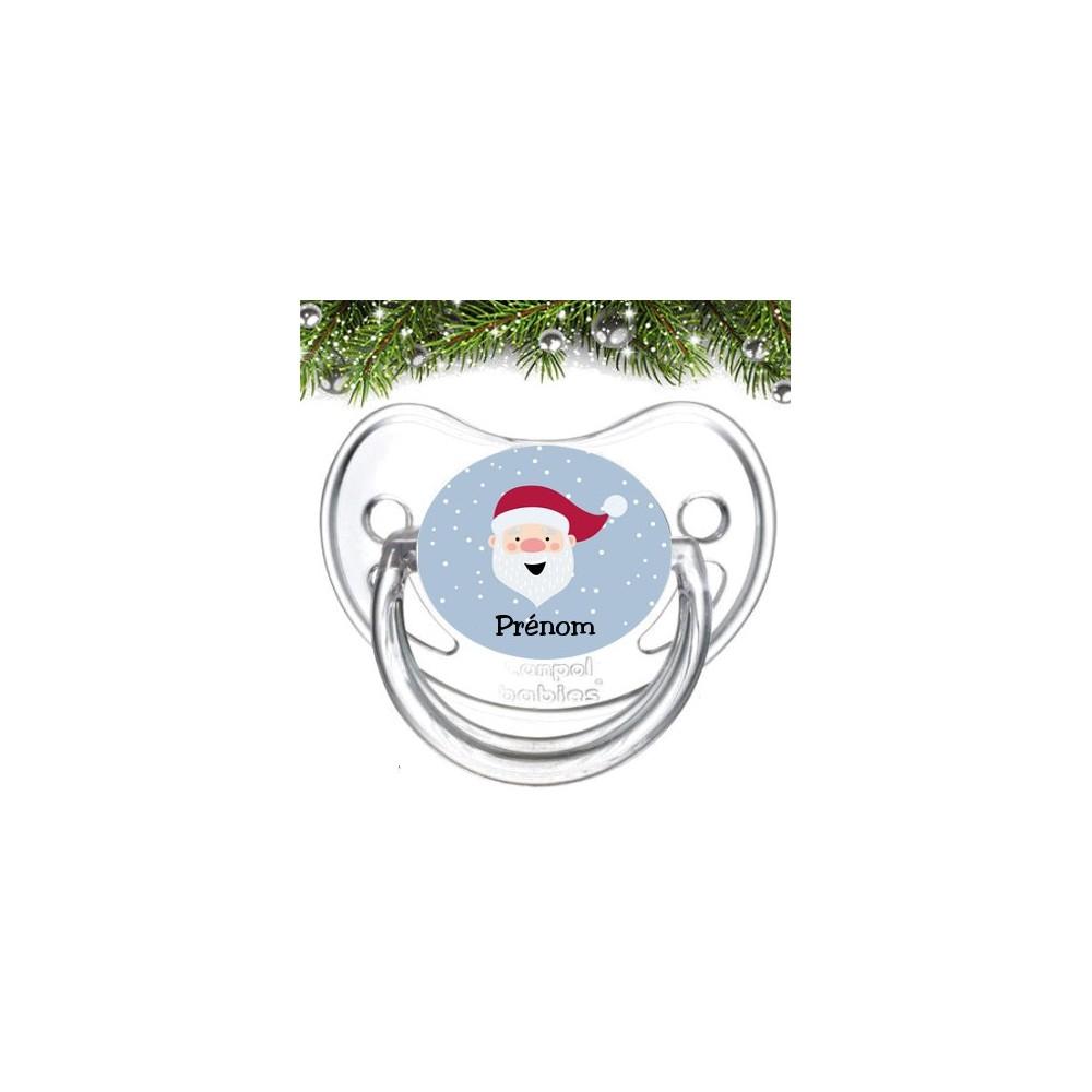 Tétine personnalisée Père Noël fond bleu