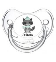 Tétine de bébé personnalisée raton laveur froid et prénom