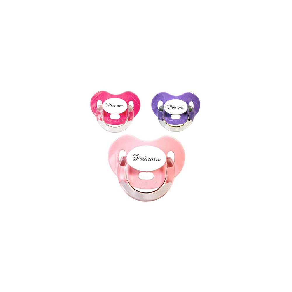 Tétines personnalisées Charme (rose, violet, fuschia)