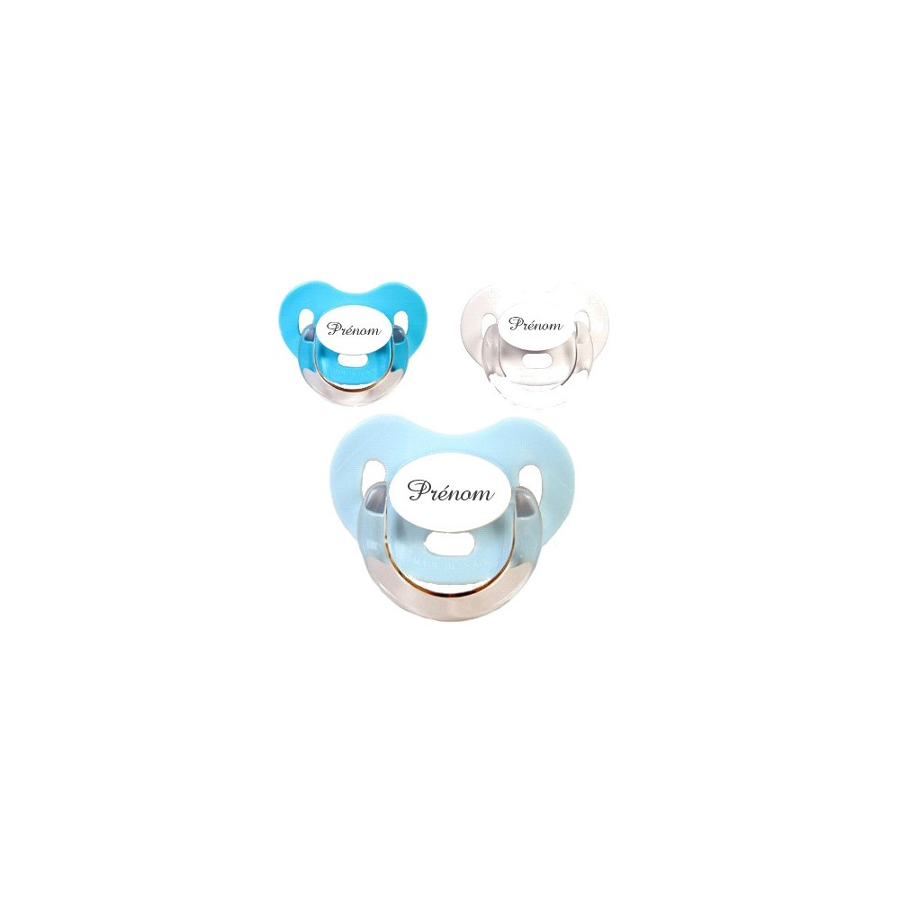 Tétines personnalisées Charme (bleu, turquoise, blanc)