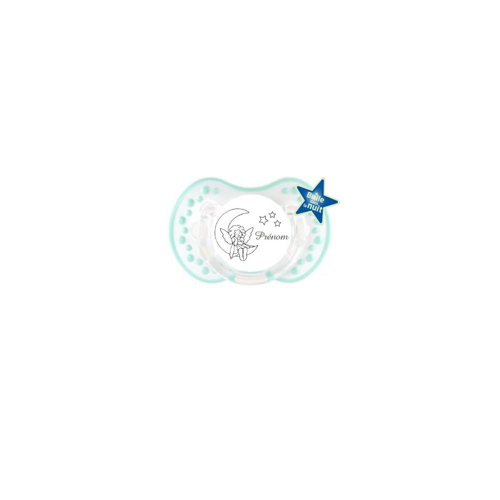Tétine personnalisée prénom Lune étoiles