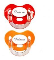 Lot de 2 tétines personnalisées Charme (orange et rouge)