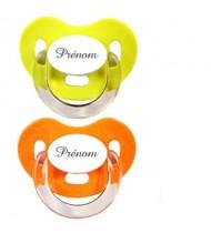 Lot de 2 tétines personnalisées Charme (orange et vert)