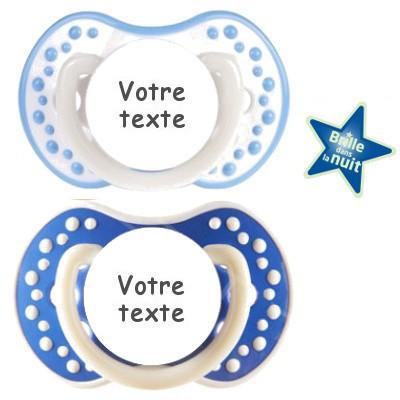 Tétines personnalisées Night and Day (marine et blanc bleu)
