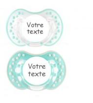 Tétines personnalisées Style garçon (turquoise et blanc)