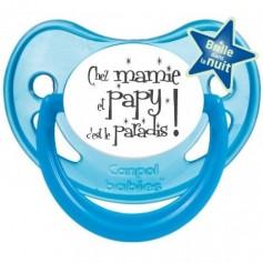 """Tétine bébé humour """"Chez mamie et papy c'est le paradis"""""""