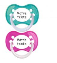 Tétines personnalisées Funny (rose, turquoise)