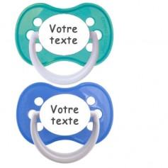 Tétines personnalisées Funny (bleu, turquoise)