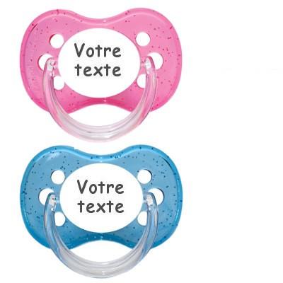 Tétines personnalisées Cerise paillettes (rose, bleu)