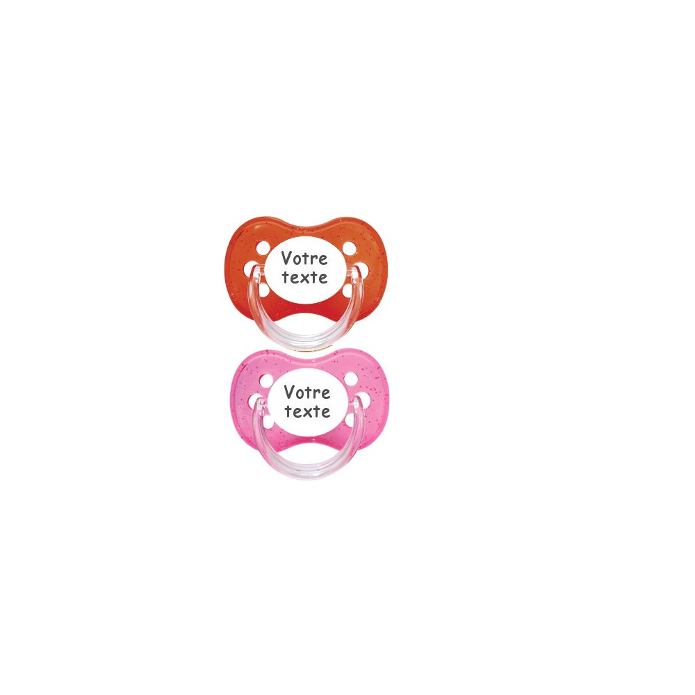 Tétines personnalisées Cerise paillettes (rose, rouge)