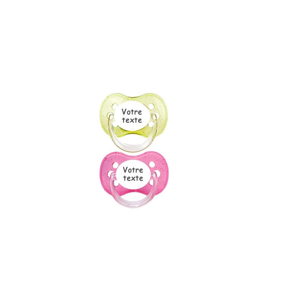 Tétines personnalisées Cerise paillettes (rose, vert)
